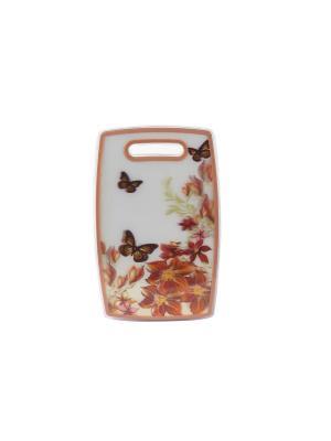 Разделочная доска пластиковая 37х23 см. Elff Ceramics. Цвет: оранжевый, белый