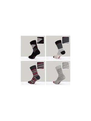 Носки Happy - 4 пары DiWaRi. Цвет: бордовый