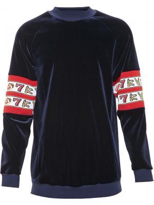 Бархатная толстовка с контрастными панелями на рукавах Kye. Цвет: синий