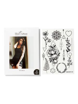 Переводные тату Flora by SashaTattooing Studio  1 лист 29,7см*21см Miami Tattoos. Цвет: черный