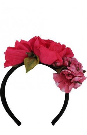 Ободок с декором в виде цветов Dolce & Gabbana. Цвет: красный