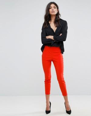 ASOS Укороченные зауженные брюки с завышенной талией. Цвет: оранжевый