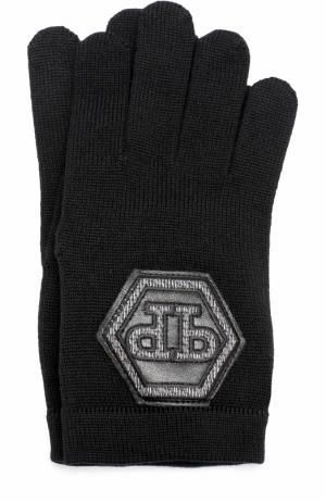 Шерстяные перчатки с отделкой Philipp Plein. Цвет: черный