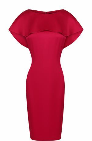 Однотонное платье-футляр с кейпом St. John. Цвет: красный