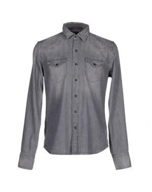 Джинсовая рубашка REPLAY. Цвет: серый