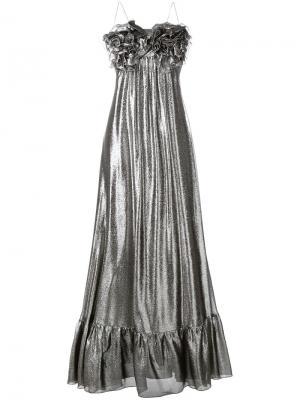 Вечернее платье с металлическим отблеском Daniele Carlotta. Цвет: металлический