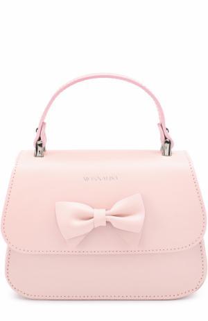 Кожаная сумка с бантом Monnalisa. Цвет: розовый