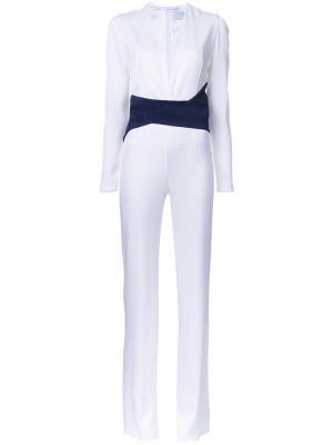 Contrast waistband jumpsuit Galvan. Цвет: белый