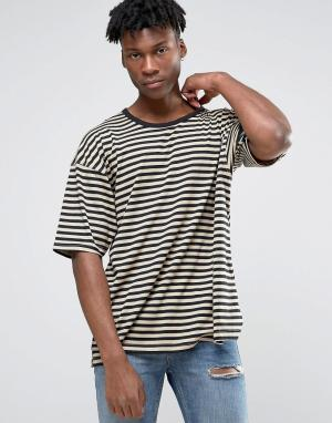 Other UK Oversize-футболка в полоску с заниженной линией плеч. Цвет: коричневый