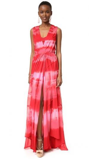 Вечернее платье в технике узелкового батика Haute Hippie. Цвет: космические оттенки красного
