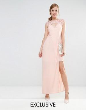 Elise Ryan Платье макси с вырезом сердечком и отделкой кружевом. Цвет: розовый