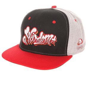 Бейсболка с прямым козырьком TrueSpin Wisdom Strapback Black/Red 1155873