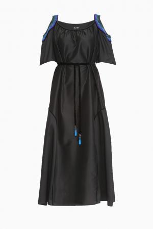 Платье из шелка с поясом 161400 Iya Yots. Цвет: черный