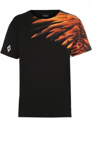 Хлопковая футболка с принтом Marcelo Burlon. Цвет: черный