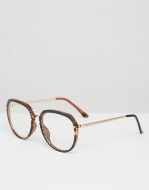 Jeepers Peepers Большие очки в черепаховой оправе с прозрачными стеклами Peepe. Цвет: коричневый
