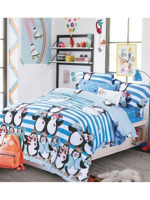 Постельное белье 1,5-спальное Asabella. Цвет: белый, голубой