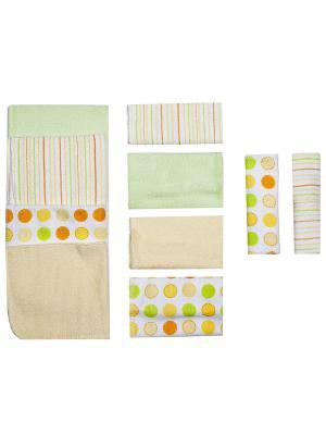 Комплект салфеток Spasilk. Цвет: светло-зеленый, светло-желтый, белый