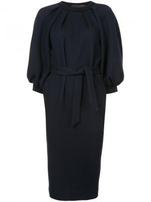 Платье миди с буффами на рукавах Martin Grant. Цвет: синий