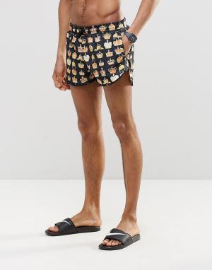 Abuze London Короткие шорты для плавания с коронами. Цвет: черный