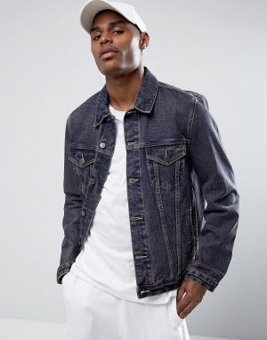 ASOS Синяя выбеленная джинсовая куртка. Цвет: красный