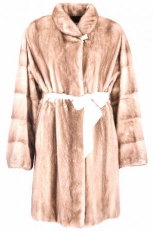 Пальто с мехом норки Mala Mati. Цвет: бежевый