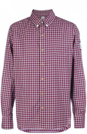 Хлопковая рубашка в клетку с воротником button down Moncler. Цвет: красный
