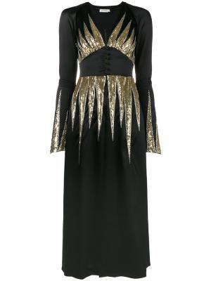 Платье макси с отделкой пайетками Suzanne Attico. Цвет: чёрный
