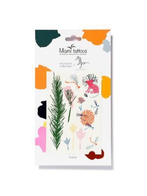 Переводные тату Miami Tattoos Forest by Little Pushkin. Цвет: бирюзовый, желтый, зеленый, индиго, коричневый, красный, лазурный, морская волна, розовый, салатовый, светло-голубой, серый меланж, сливовый
