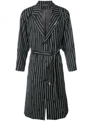 Pinstripe belted coat Icosae. Цвет: чёрный