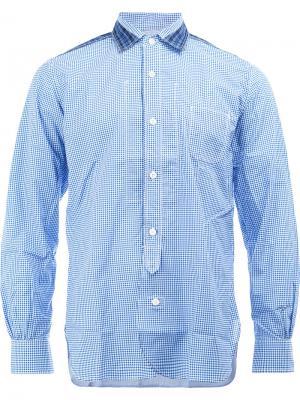 Клетчатая рубашка с контрастной отделкой Junya Watanabe Comme Des Garçons Man. Цвет: синий