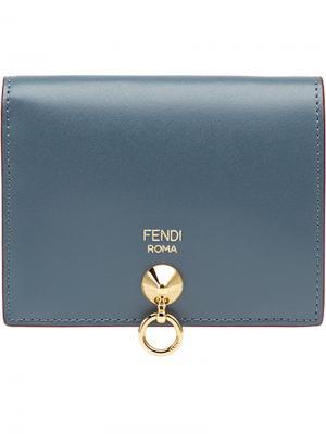 Маленький кошелек с тисненым логотипом Fendi. Цвет: синий