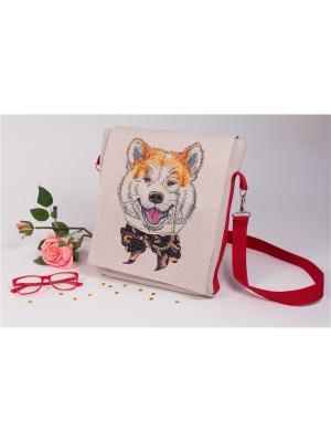 Набор для шитья и вышивки текстильная сумка- планшет Акита-ину Матренин Посад. Цвет: коричневый, рыжий, серый