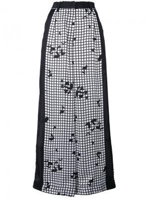 Широкие брюки с сетчатым принтом Sacai. Цвет: чёрный