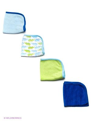 Салфетка для купания, 4 шт Luvable Friends. Цвет: салатовый, голубой