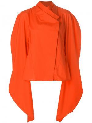 Асимметричная блузка с рукавами-кап A.W.A.K.E.. Цвет: жёлтый и оранжевый