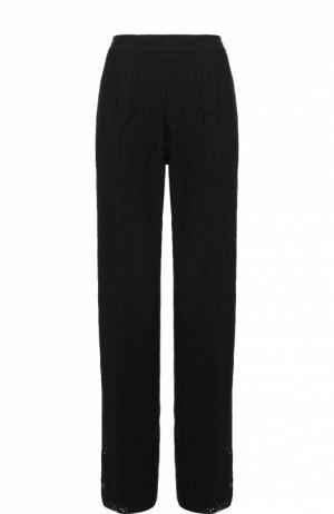 Кружевные брюки прямого кроя с контрастными лампасами No. 21. Цвет: черный