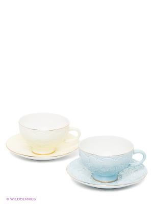 Чайный набор Белла Мария Pavone. Цвет: молочный, светло-голубой