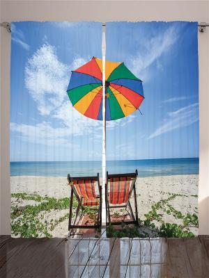 Комплект фотоштор для гостиной Разноцветный зонтик, плотность ткани 175 г/кв.м, 290*265 см Magic Lady. Цвет: бежевый, белый, голубой, желтый, зеленый, коричневый, молочный, синий, черный