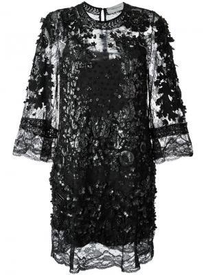Декорированное платье-шифт Amen. Цвет: чёрный