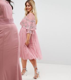 Maya Plus Платье миди с прозрачной отделкой и кейпом. Цвет: розовый