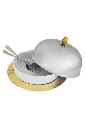 Блюдо с крышкой Giorinox. Цвет: серебряный