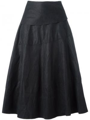Широкая юбка средней длины Ma+. Цвет: чёрный