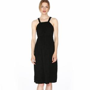 Платье на бретелях, отрезное по спинке, застёжка сбоку PEPALOVES. Цвет: черный
