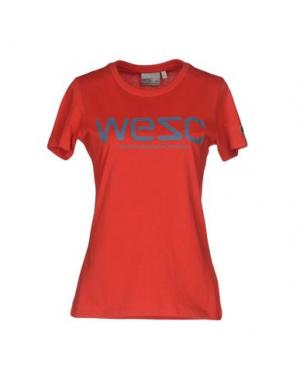 Футболка WESC. Цвет: красный