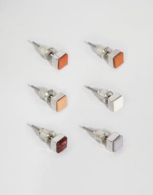 ASOS Набор сережек-гвоздиков (коричневый, оранжевый). Цвет: мульти
