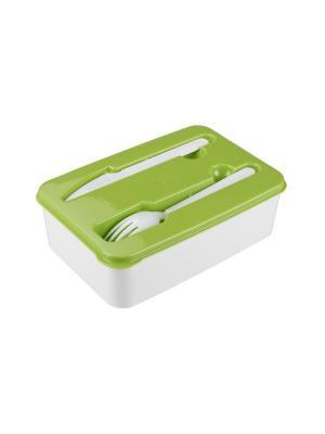 Контейнер для обеда со стол. приб. (227х155х70) Альтернатива. Цвет: светло-зеленый, белый