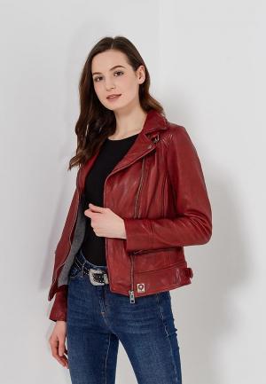 Куртка кожаная Oakwood. Цвет: бордовый
