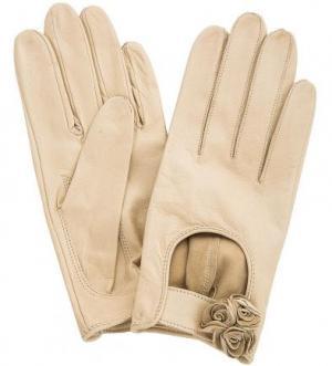 Бежевые кожаные перчатки без подкладки ELEGANZZA. Цвет: бежевый