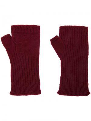 Перчатки в рубчик без пальцев Undercover. Цвет: красный