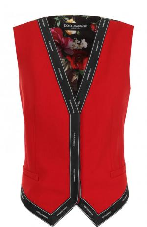 Шерстяной жилет с принтованной спинкой Dolce & Gabbana. Цвет: красный